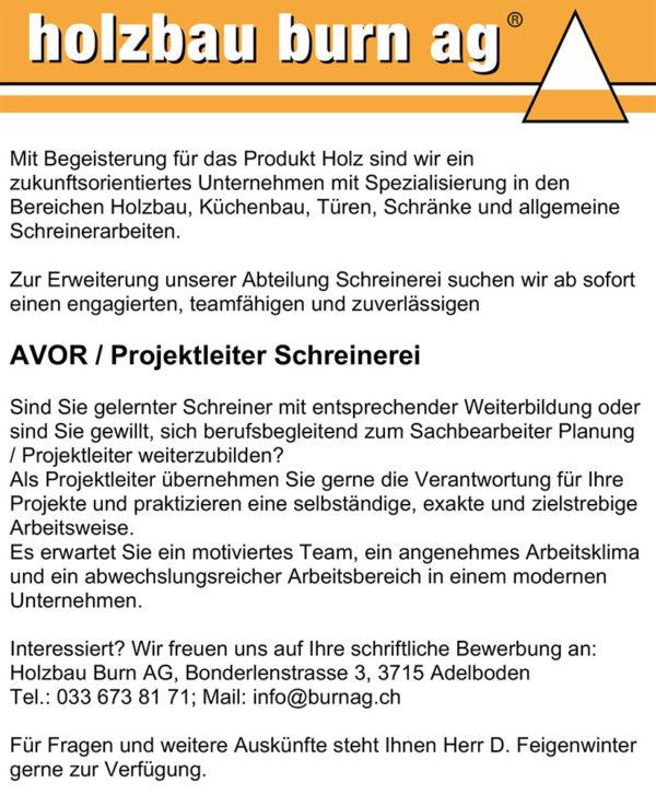 AVOR/Projektleiter Schreinerei gesucht – Holzbau Burn AG, Adelboden